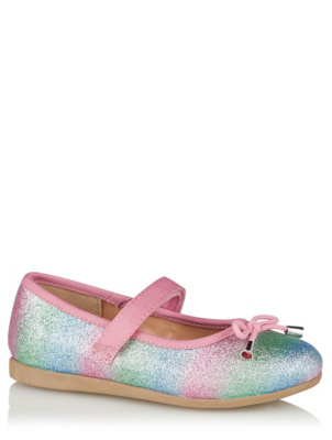 Rainbow Glitter Ballet Shoes