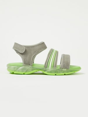 Grey and Green 1 Strap Light Up Sandals