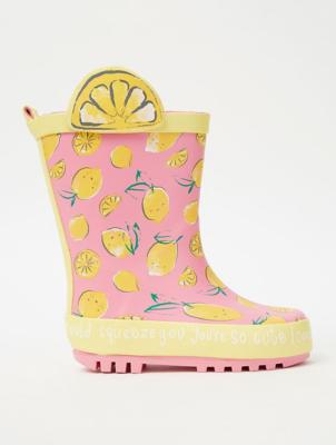Pink Lemon Print Wellington Boots