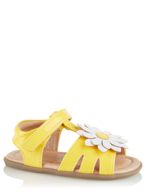 First Walkers Yellow Daisy Appliqué Sandals