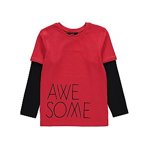 Red Awesome Slogan Long Sleeve Top