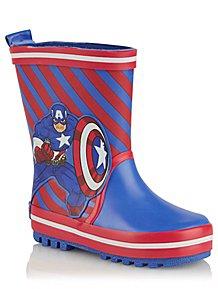 1fbb568af005 Marvel Avengers Captain America Blue Wellington Boots