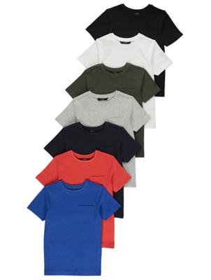 Colour Block Pocket T-Shirts 7 Pack