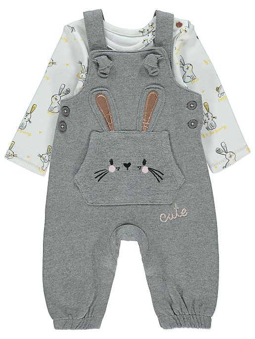 6b5f2f8f0e44 Grey Bunny Dungarees and Bodysuit Outfit
