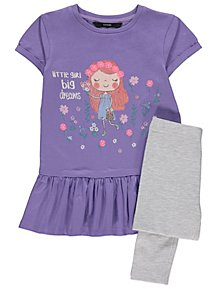 a61b60222af Lilac Flower Girl Dress and Leggings Outfit