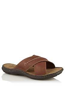 36bfbe563 Leather Cross Strap Slip On Sandals