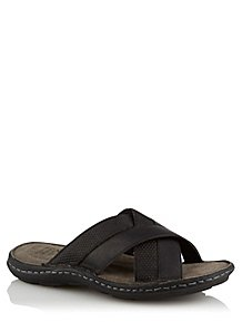 d10da869a99c Black Leather Crossover Slip On Sandals