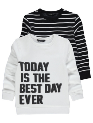 Slogan Stripe Sweatshirts 2 Pack