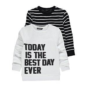 Slogan Stripe Sweatshirts 2 Pack