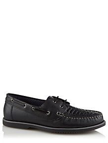 5a5c266e272fb Black Woven Leather Lace-Up Loafers