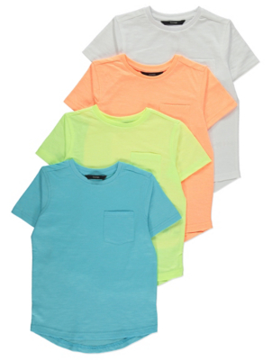 Neon Short Sleeve Pocket T-Shirts 4 Pack