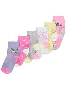 8a551cd3296 Pastel Unicorn Ankle Socks 6 Pack