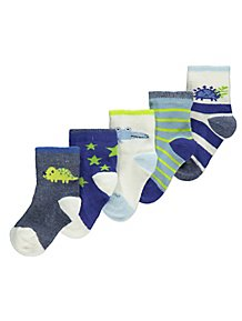 d6cbe1139a12 Assorted Dinosaur Socks 5 Pack