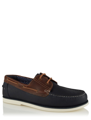 Navy Leather Lace Up Boat Shoes