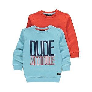 Assorted Dude Slogan and Orange Sweatshirts 2 Pack