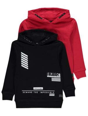 Assorted Printed and Red Hoodies 2 Pack