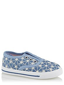 b69be662462 Blue Floral Embroidered Canvas Shoes