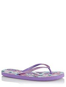 098c104a2e533 Purple Glittered Floral Print Flip Flops