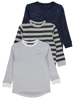 Striped Long Sleeve Curved Hem Tops
