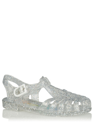 Silver Toned Glitter Jelly Sandals