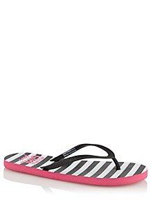 167d4dd88fe8 Black Striped Girl Power Flip Flops