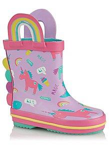 b0b878a69e7 First Walkers Lilac Unicorn Print Wellington Boots
