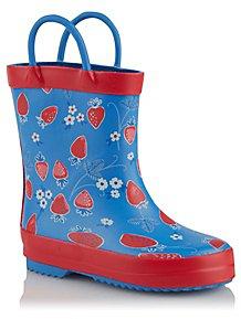 a3627d2847d5 First Walkers Blue Strawberry Print Wellington Boots
