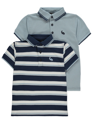 Blue Striped Polo Shirts 2 Pack