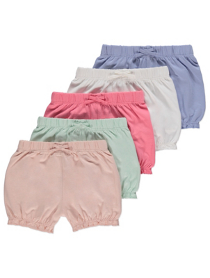 Assorted Pastel Frill Trim Shorts 5 Pack