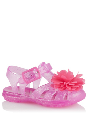 First Walkers Pink Glitter Jelly Sandals