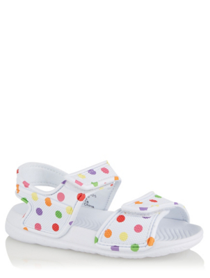 White Dotty 2 Strap Sandals