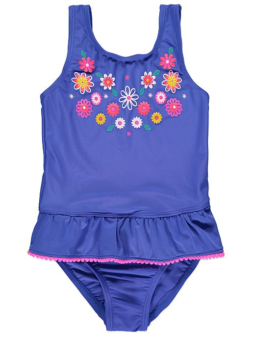 a78bc6b90f Cobalt Blue Floral Pom Pom Trim Swimsuit | Kids | George