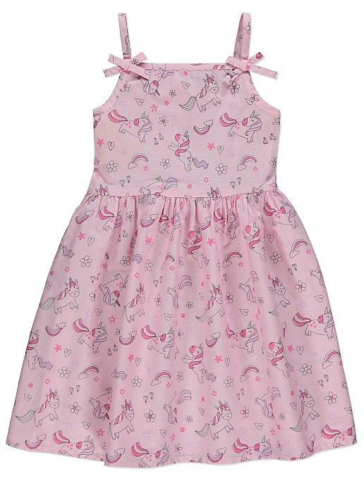 cf7a7fe81341 Pink Unicorn Print Bow Trim Strappy Woven Dress | Kids | George