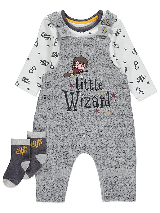 fb3f358bd Harry Potter Grey Knitted Dungarees Bodysuit and Socks Outfit | Baby |  George