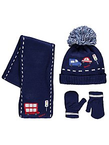 ca1a4ade91e Navy Embroidered Hat Scarf and Gloves Set