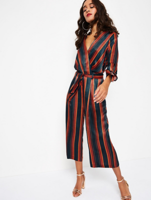 Navy Striped Silk-Feel Culotte Jumpsuit