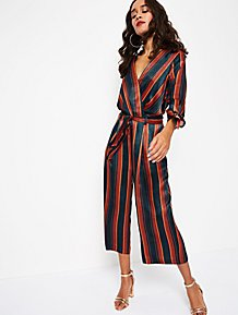 7cf05afc20 Navy Striped Silk-Feel Culotte Jumpsuit