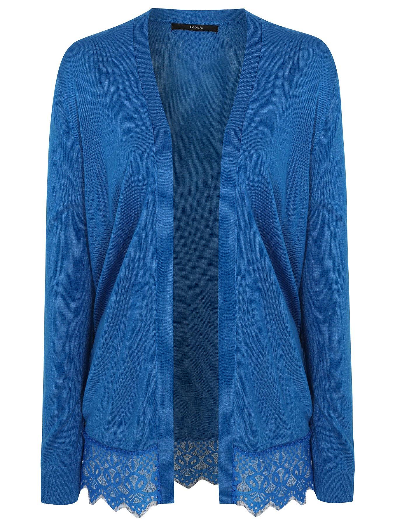 Blue Lace Hem Open Front Cardigan