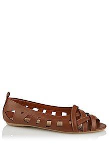 85a2e5a3381b Brown Faux-Leather Cage Toe Ballet Shoes