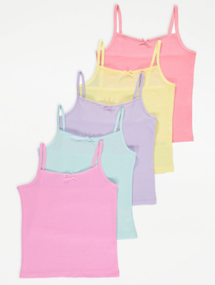Assorted Pastel Colour Cami Vests 5 Pack