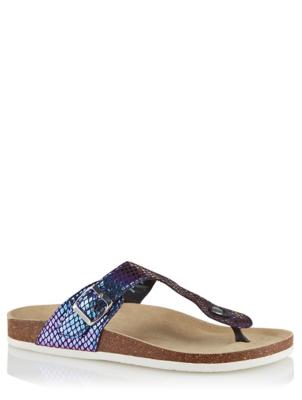 Iridescent Toe Post Sandals