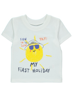 White My First Holiday Slogan T-Shirt