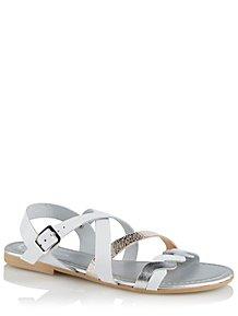 d532807b7ab289 White Leather Metallic Braid Strap Sandals