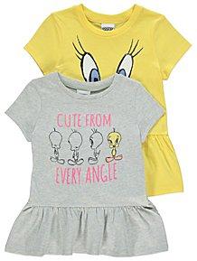 7bfe6215d9d4 Looney Tunes Tweety Ruffled Hem T-Shirts