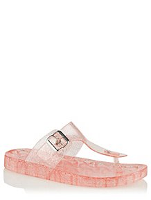 bda551808 Pink Glitter Jelly Toe Post Sandals
