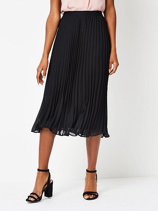6cb19f790b Black Pleated Midi Skirt   Women   George