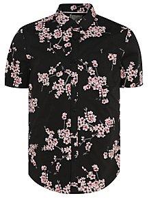 e6e5162f653 Black Cherry Blossom Print Short Sleeve Shirt