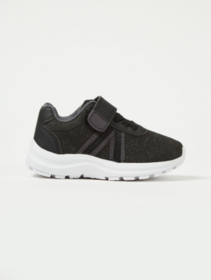 Black 1 Strap Elasticated Lace Trainers