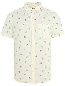3d79ae5a82e Cream Textured Floral Print Shirt