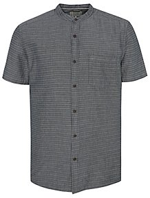 8200cdd1d Grey Stripe Grandad Collar Short Sleeve Shirt